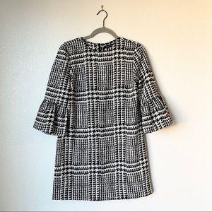 Zara Houndstooth Bell Sleeve Shift Dress